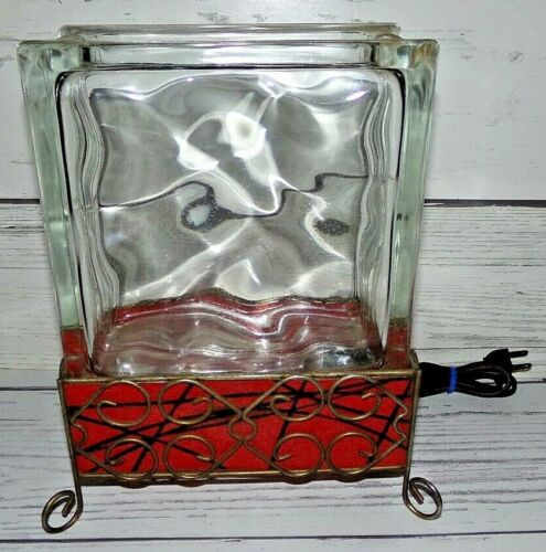 Vintage MidCentury TV Lamp Night Light Aquarium Glass Block w/ Fiberglass Shade