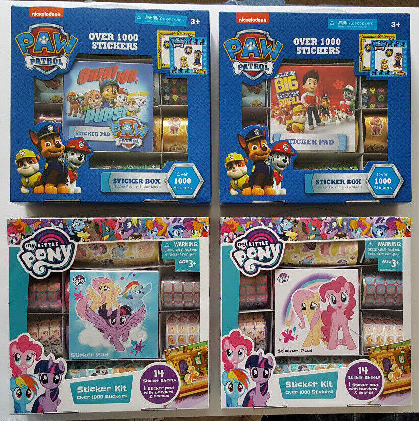 Paw Patrol & My Little Pony Sticker sets over 1000 stickers