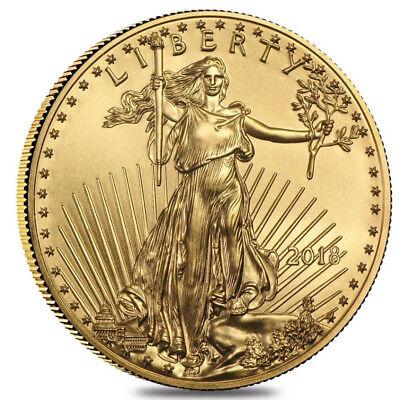 2018    5 1 10Oz Gold American Eagle Bu Unc Uncirculated  Beautiful Gold Coin Tq