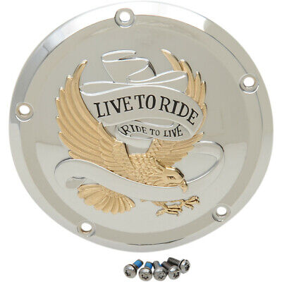 Drag Specialties Chrome Live to Ride Derby Cover for Harley Big Twin 1999-2017