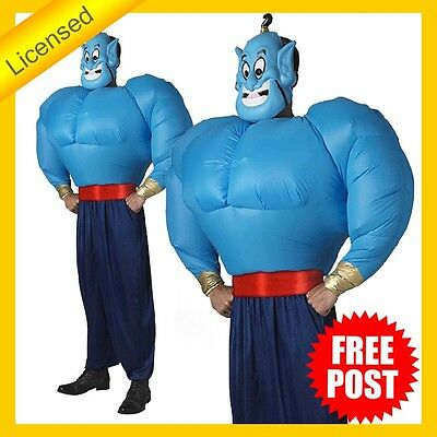 Rd Mens Costume Fancy Dress Licensed Disney Aladdin Genie Inflatable Top - Male Genie Costume