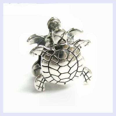 Turtle Animal Charm (Sterling Silver Ocean Sea Turtle Beach Animal Bead for European Charm)