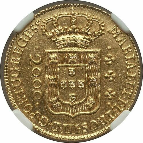 1778 (L) BRASIL MARIA I & DOM PEDRO III GOLD 2000 REIS NGC UNC-DETAILS (CLEANED)