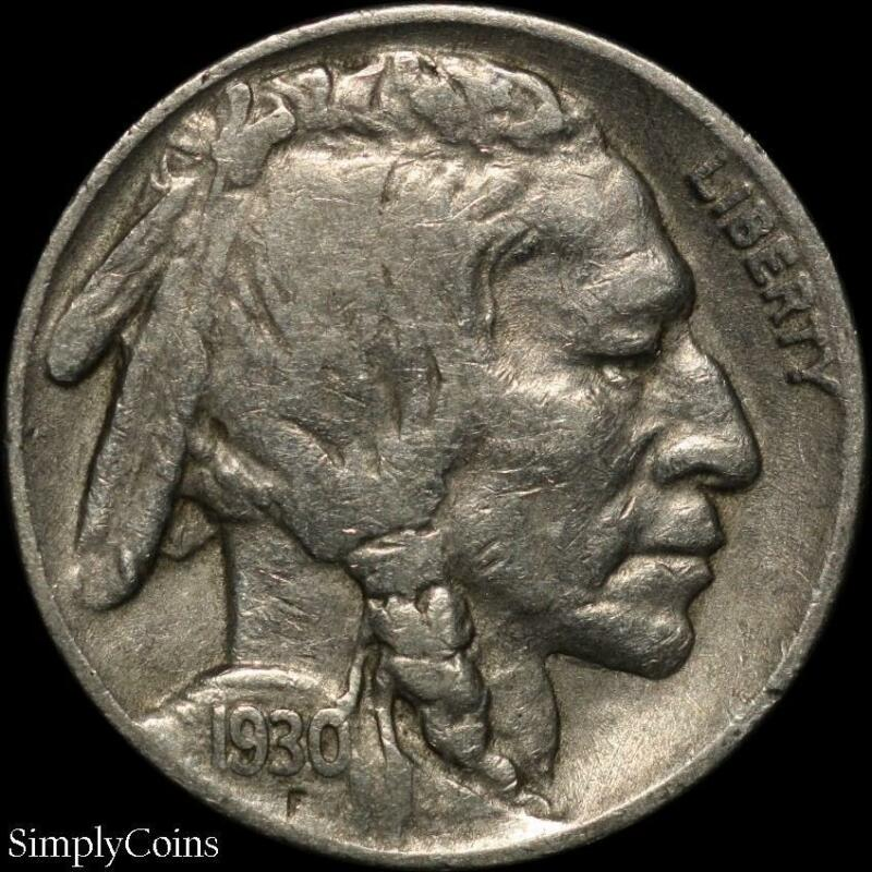 1930 Indian Head Buffalo Nickel ~ Fine ~ US Coin