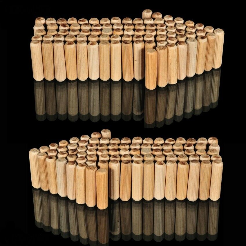 1,000 x WOODEN DOWELS HARDWOOD GROOVED FLUTED WOOD PINS M8 X 40MM