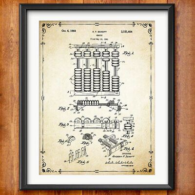 ACCOUNTANT GIFT Abacus Patent Accounting Book Keeping Office Decor Gift Art 1350