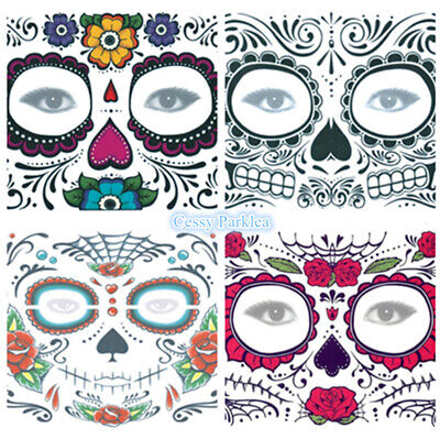 Day of the Dead Temporary Face Tattoo Sheet Halloween Costume Make Up 150*125mm](Day Of The Dead Make Up)