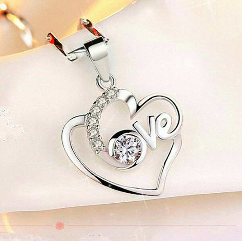Jewellery - Crystal Heart Pendant 925 Sterling Silver Jewellery Necklace Chain Women gifts