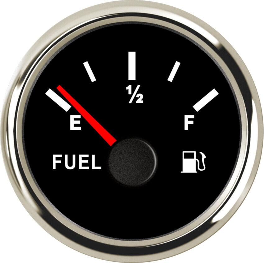 Fuel Level Gauge 90-0 ohms E-F 9-32 VDC Black 52MM For Car Truck Boat Motorcycle
