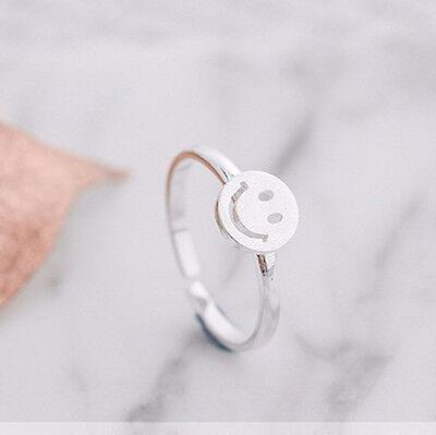 925 Silver Cute Smile Face Ring Emoji Ring Fashion Women Wedding Adjustable - Wedding Ring Emoji