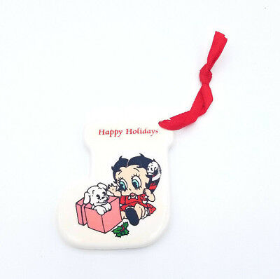 1990 BETTY BOOP Presents Christmas Ornament Ceramic Holiday Stocking Vintage NEW