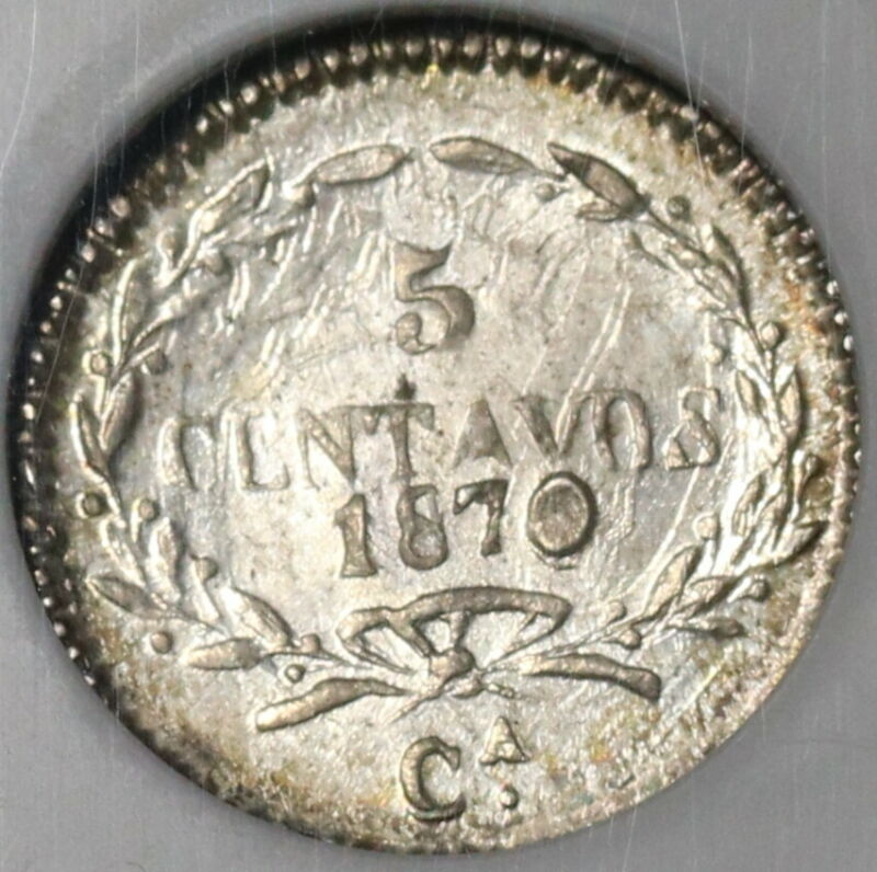 1870-Ca NGC MS 64 Mexico 5 Centavos Rare Chihuahua Silver Coin 35k (20011603C)