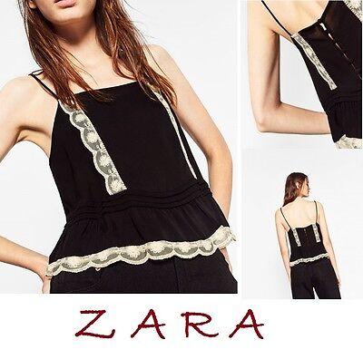 ZARA Black Camisole Nude Lace Pleats Frills Straps Back Button New Top XS S M L ()