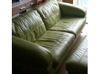 !!!! SALE!!! Leather sofa green