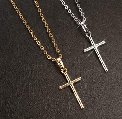 925 Sterling Silver SP/ Gold GP Faith Cross Pendant Chain Necklace Faith Pendant Necklace