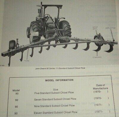 John Deere 90 Series Subsoil Chisel Plow Parts Catalog Manual Book Jd Original