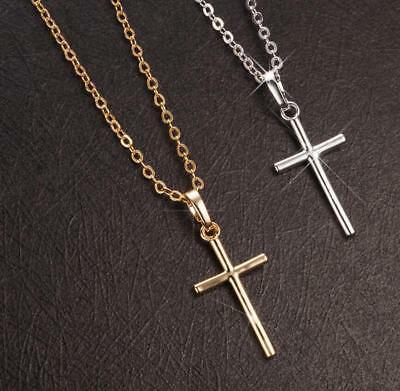 Unisex Simple Faith Cross Gold/Silver 925 Sterling Silver Pendant Necklace 925 Sterling Silver Cross Pendant