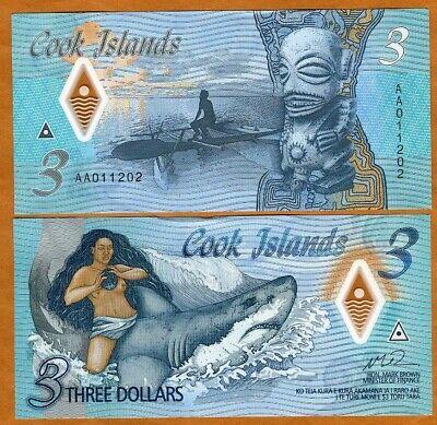 Cook Islands, $3, 2021, Naked Ina & a shark,  P-New, Polymer AA-Prefix, Gem UNC