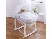 Clair de Lune White Wicker Moses basket with Deluxe rocking Moses stand RRP £108