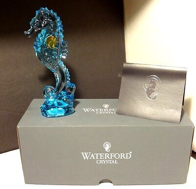"*NEW* Waterford Crystal SEAHORSE (2016-) Figurine Ocean Blue 7 1/8"" New In Box"