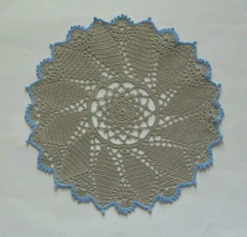 """New Hand Crocheted Doily Stone with Blue Border 11"""" round Handmade"""