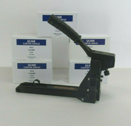 """Manual Carton Stapler  H-1025 """"C"""" - 5/8""""- 3/4""""  Uline with 5 Boxes Staples"""