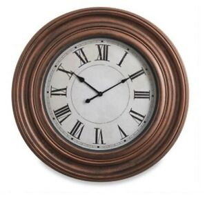 Oversized Large Glass-Faced Wall Clock Decor with Roman Numerals