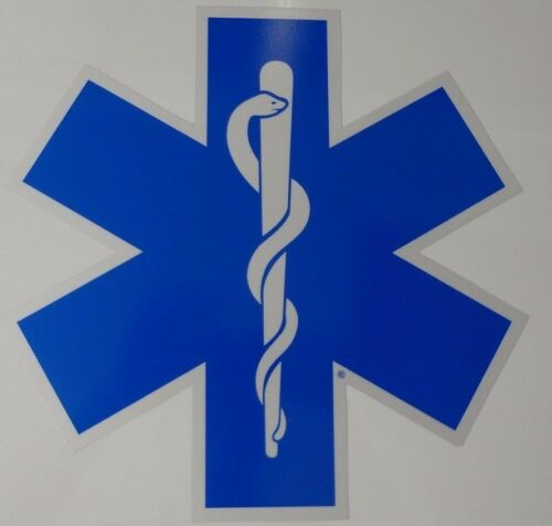 "14"" Star of Life - Ambulance Decal -Reflective Blue w/ White border"