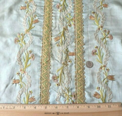 "French Antique 18thC Silk Floral Embroidered Blue Silk Table Cover~L-54""X W-18"""