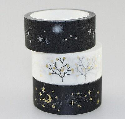Gold Glitter Tape (Metalic Glitter Bronzing Washi tape Tree Moon Night Star Silver Gold Foiled)