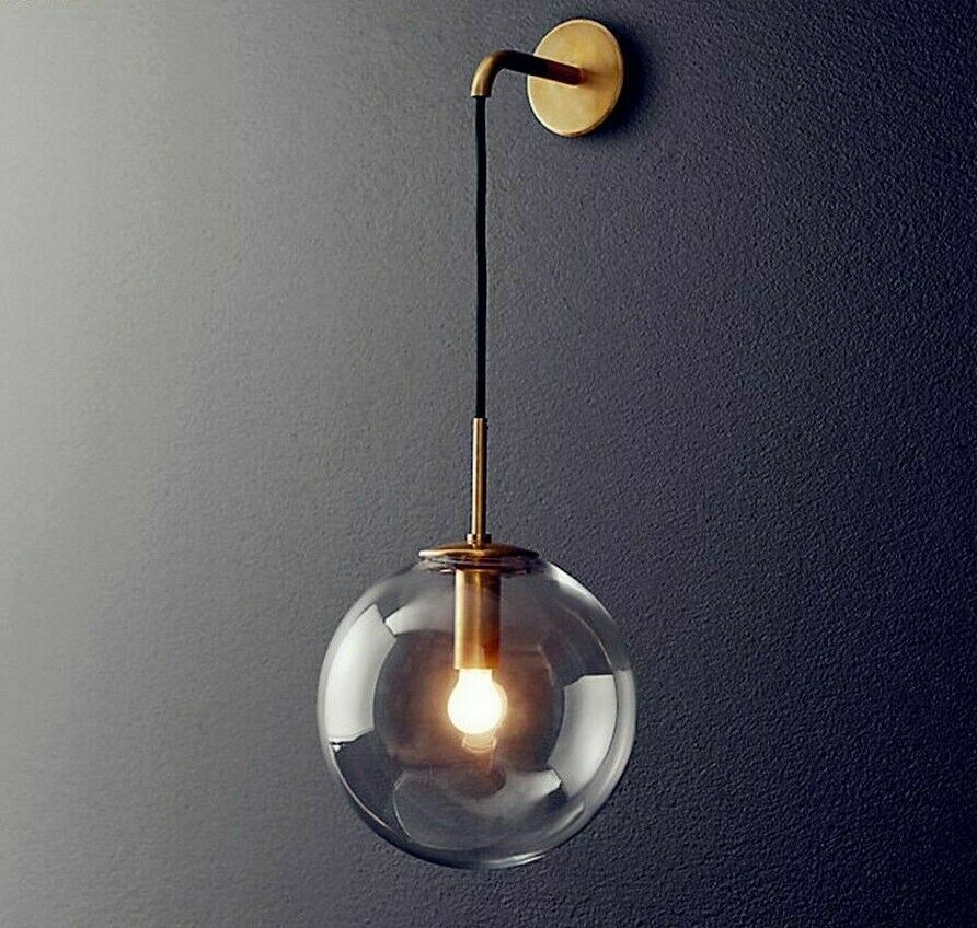 the latest 57083 4c08c Details about Wall-mounted Lamps Sconce Led Bulb Night Lights Clear Glass  Retro Home Decor New