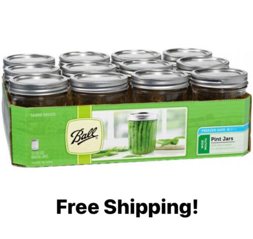 BALL Wide Mouth Pint Glass Mason Jars With Lids 16 Oz 12 Cou