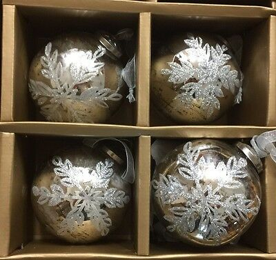 New Vintage Large Silver SNOWFLAKE MERCURY Glass Christmas Ornaments Kugel Set 4