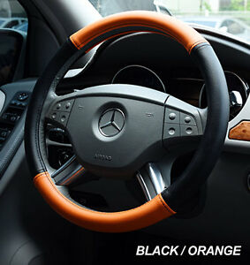 IGGEE BLACK/ORANGE S.LEATHER PREMIUM HIGH QUALITY STEERING WHEEL COVER 15