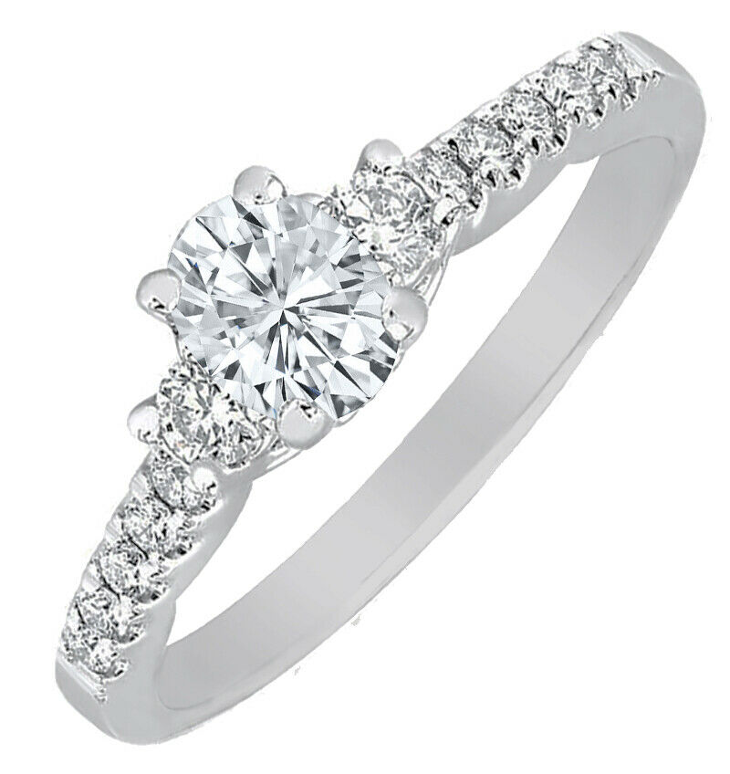GIA Certified Diamond Engagement Ring 1.47 carat total Oval & Round Cut 14k Gold