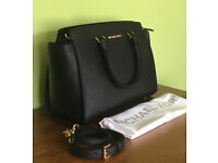 Michael Kors Selma Black Saffiano Leather Handbag Crossbody Bag