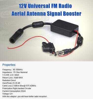 FM Radio Antenne Signal Verstärker Booster Amplifier AMP 12V für KFZ Autoradio