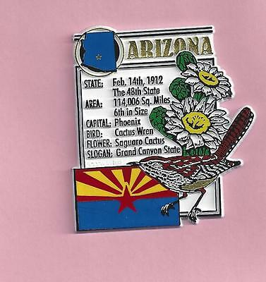 ARIZONA  STATE MONTAGE FACTS MAGNET with state  bird  flower  and flag, PHOENIX