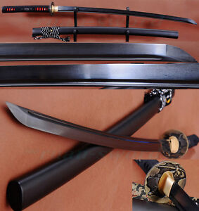 Black-Folded-Steel-Full-Tang-Blade-Handmade-Japanese-Samurai-Katana-Sword-Sharp