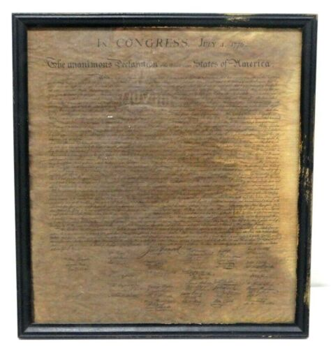 """Declaration of Independence Framed Parchment Reproduction 16.5"""" x 15"""""""