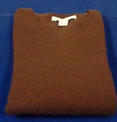 CHADWICK'S100%  CASHMERE V- NECK Sweater  S  ~ DARK BROWN