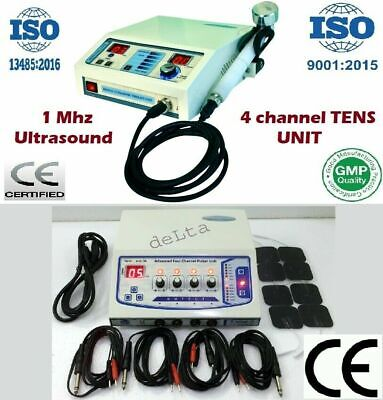 Combo 2 Machine 1mhz Ultrasound Therapy Electrotherapy 4channel Sticky Pads