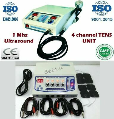 New Combo Offer 2 Machine 1mhz Ultrasound Therapy Electrotherapy 4channel Sticky