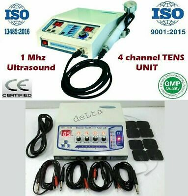 Combo Portable Two Units 4 Channel Electrotherapy Ultrasound Therapy Machine