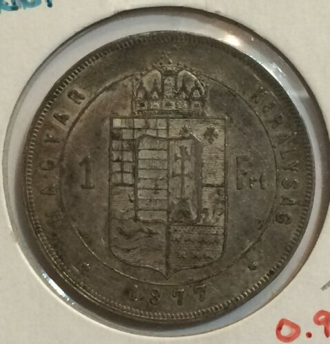 Hungary 1 forint 1877-KB - Extra Fine XF - original surfaces