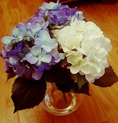 Vintage Floral 3 Blue and White Hydrangeas with Vase