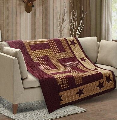 HOMESTEAD RED BARN STAR QUILT THROW : COUNTRY FARMHOUSE BURGUNDY PLAID BLANKET