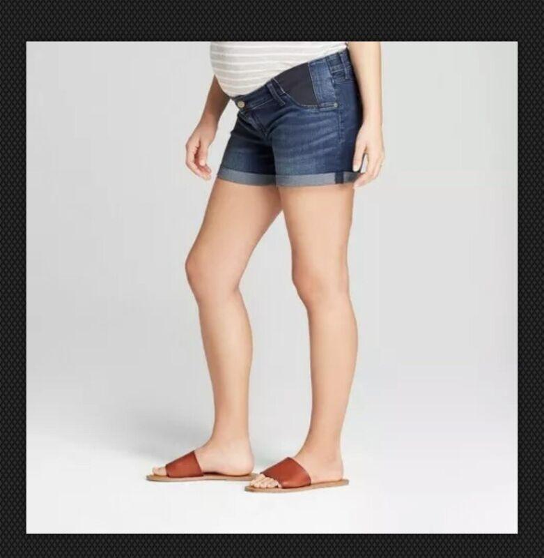 Isabel Maternity Inset Panel Midi Jean Shorts - Dark Wash Sizes 16 18 Isabel #80