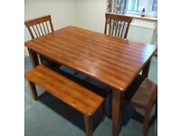 Solid dark wood table, three chairs and bench ATTLEBOROUGH