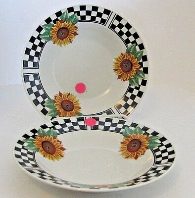 Tabletops Unlimited Sunny Rim Soup Bowls Black White Check Sunflowers 2Pc Flaws